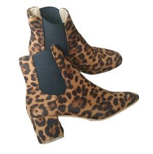 Shoes - Leopard Print Almond Toe Ankle Boots